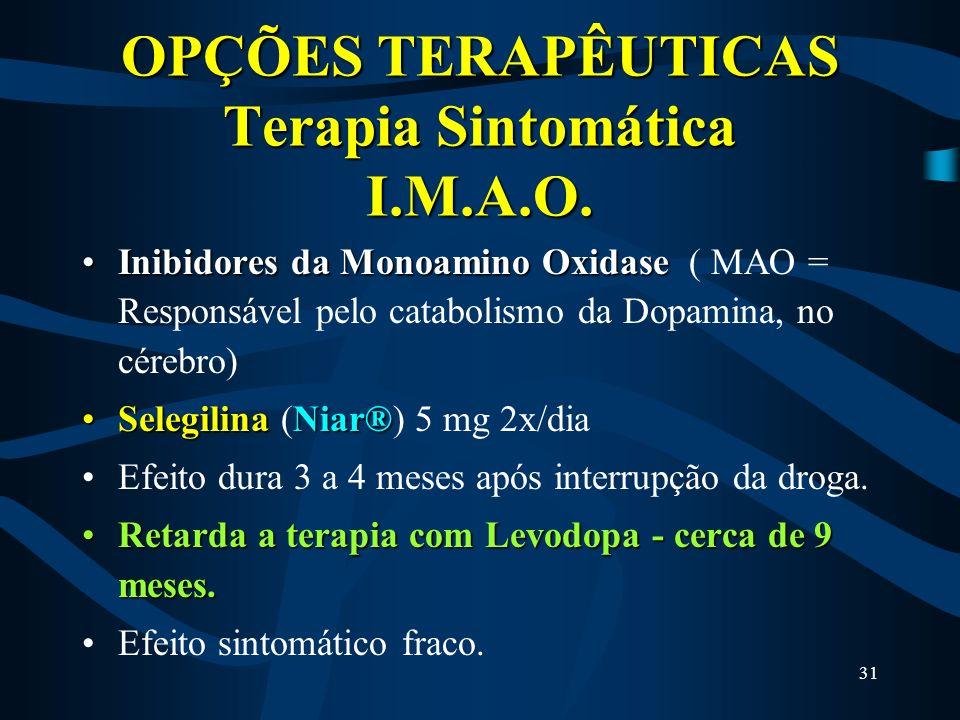 OPÇÕES TERAPÊUTICAS Terapia Sintomática I.M.A.O.