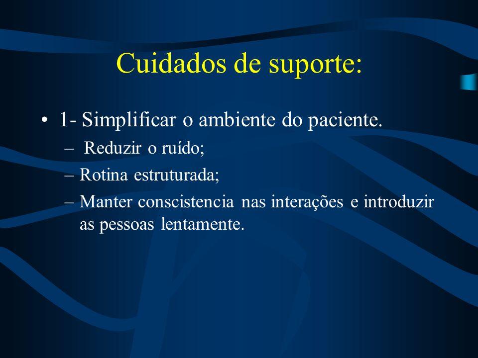 Cuidados de suporte: 1- Simplificar o ambiente do paciente.