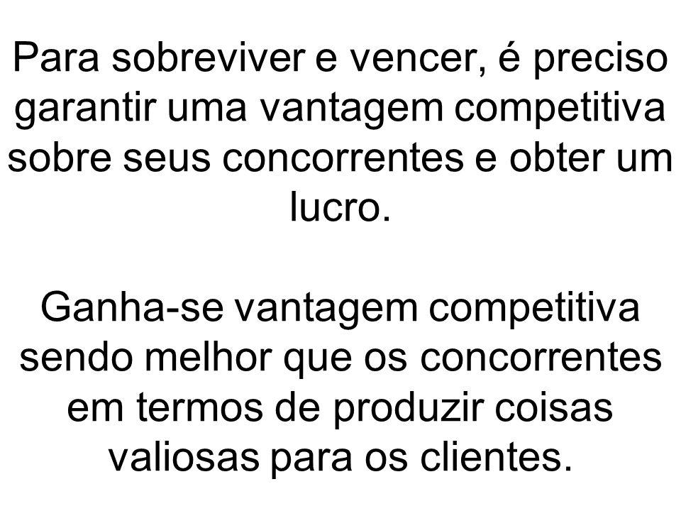 Para sobreviver e vencer, é preciso garantir uma vantagem competitiva sobre seus concorrentes e obter um lucro.