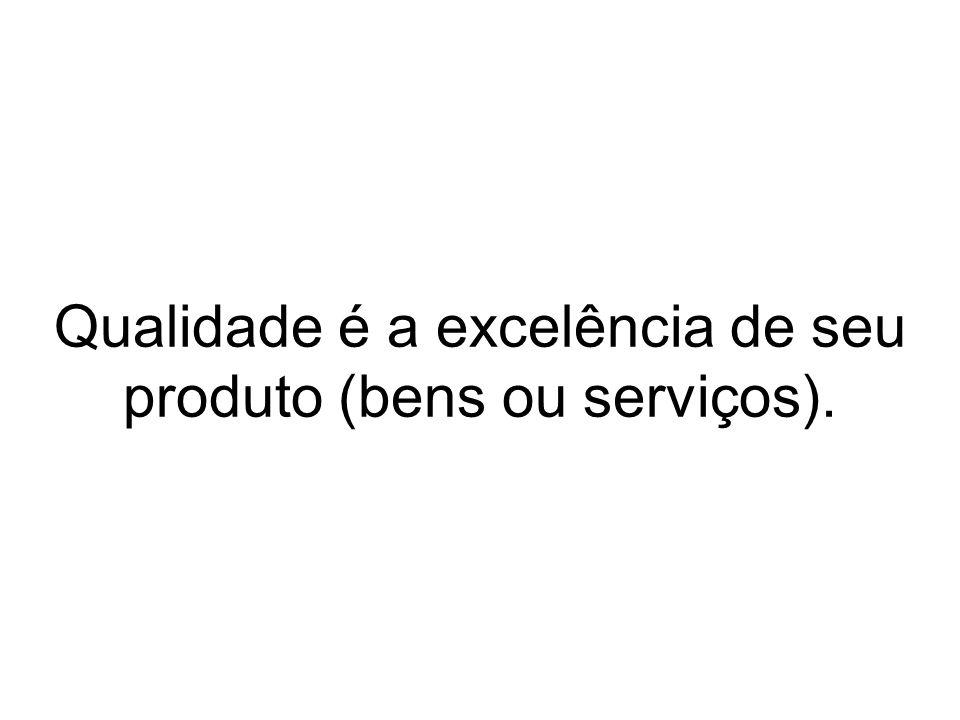 Qualidade é a excelência de seu produto (bens ou serviços).