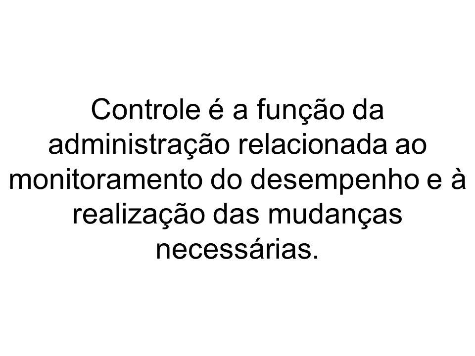 Controle é a função da administração relacionada ao monitoramento do desempenho e à realização das mudanças necessárias.