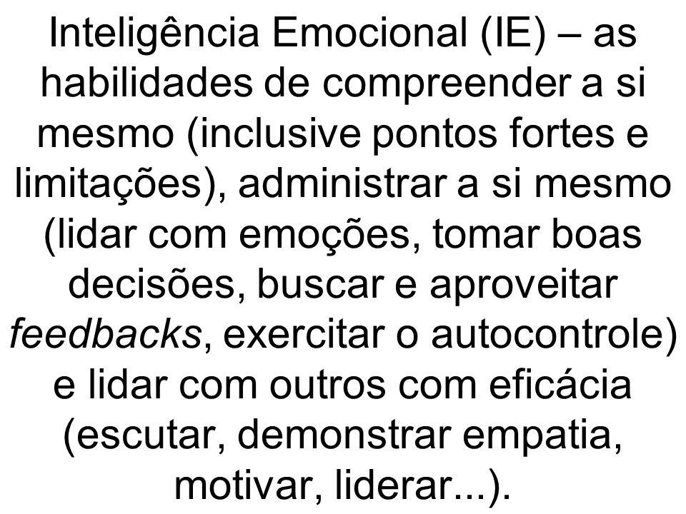 Inteligência Emocional (IE) – as habilidades de compreender a si mesmo (inclusive pontos fortes e limitações), administrar a si mesmo (lidar com emoções, tomar boas decisões, buscar e aproveitar feedbacks, exercitar o autocontrole) e lidar com outros com eficácia (escutar, demonstrar empatia, motivar, liderar...).