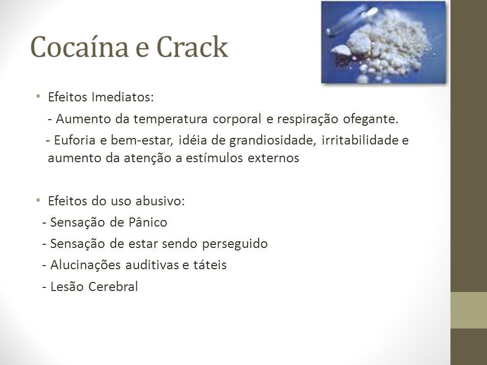 Cocaína e Crack Efeitos Imediatos: