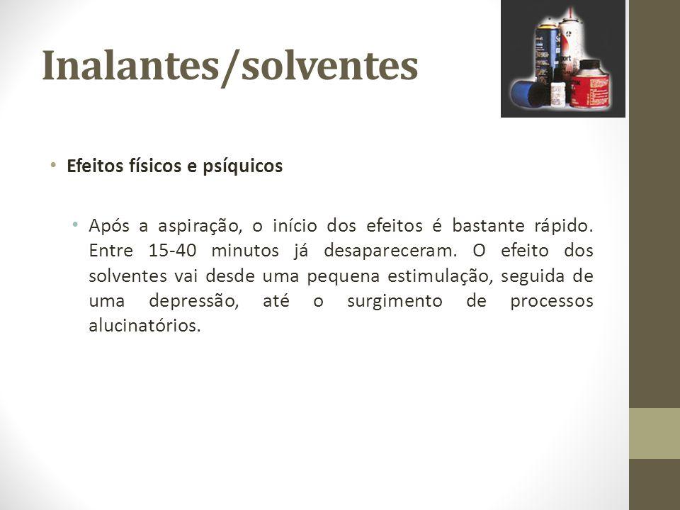 Inalantes/solventes Efeitos físicos e psíquicos