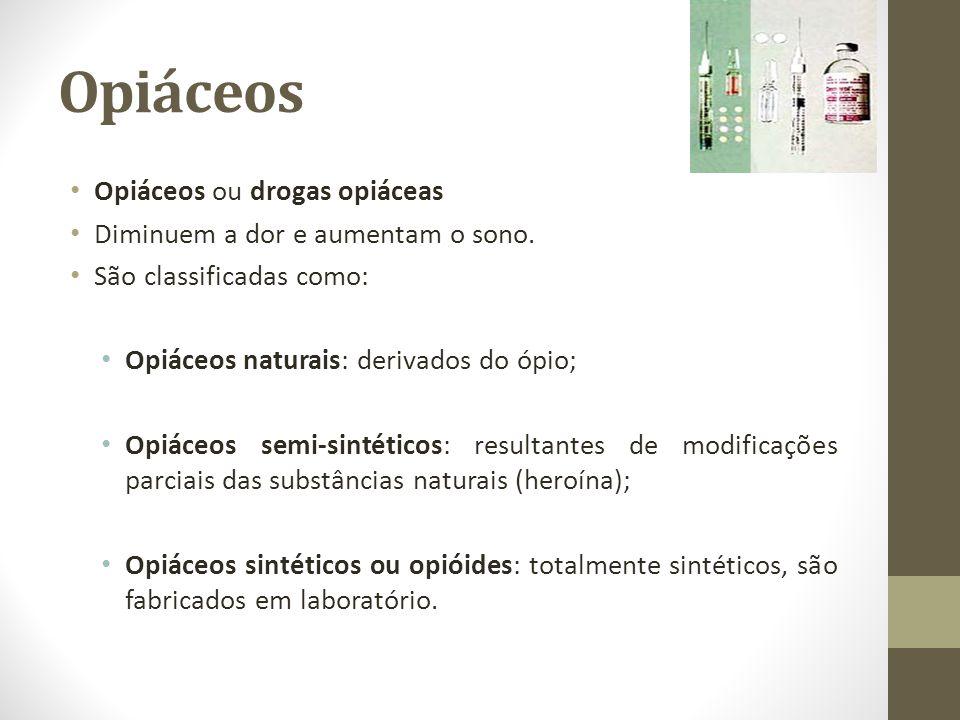 Opiáceos Opiáceos ou drogas opiáceas Diminuem a dor e aumentam o sono.