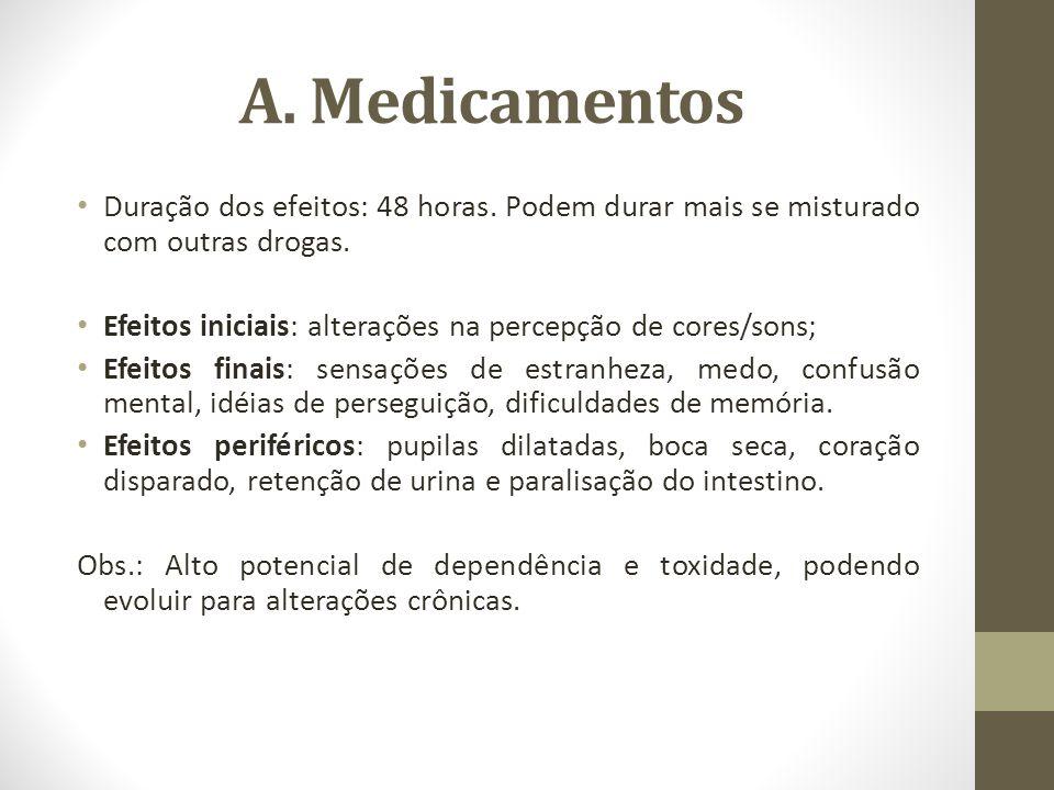 A. Medicamentos Duração dos efeitos: 48 horas. Podem durar mais se misturado com outras drogas.