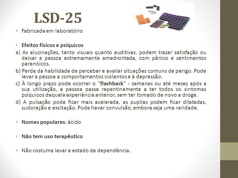 LSD-25 Fabricada em laboratório Efeitos físicos e psíquicos