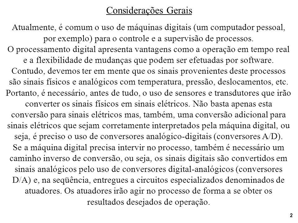 Considerações Gerais Atualmente, é comum o uso de máquinas digitais (um computador pessoal, por exemplo) para o controle e a supervisão de processos.