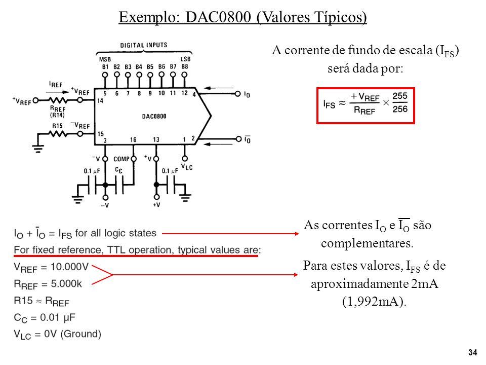 Exemplo: DAC0800 (Valores Típicos)