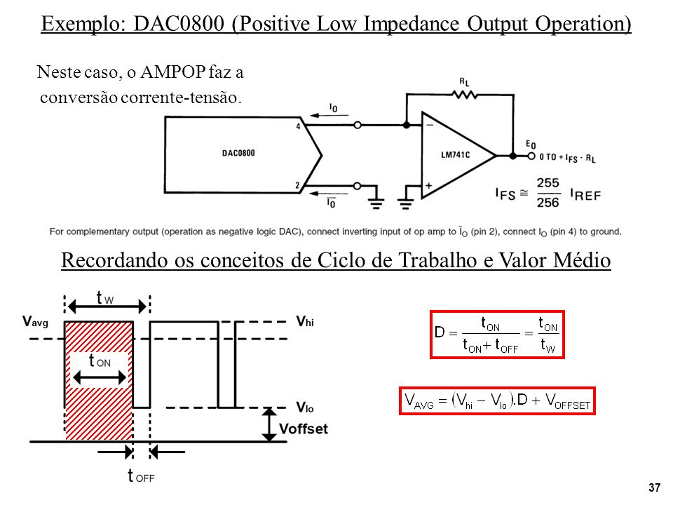 Exemplo: DAC0800 (Positive Low Impedance Output Operation)