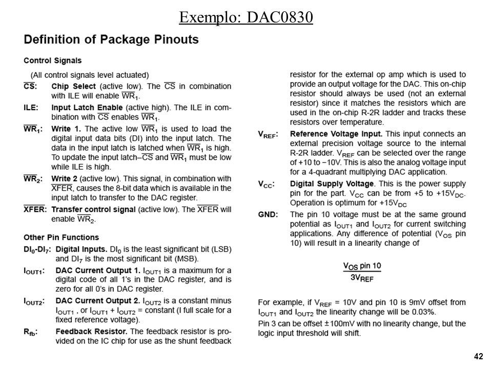 Exemplo: DAC0830