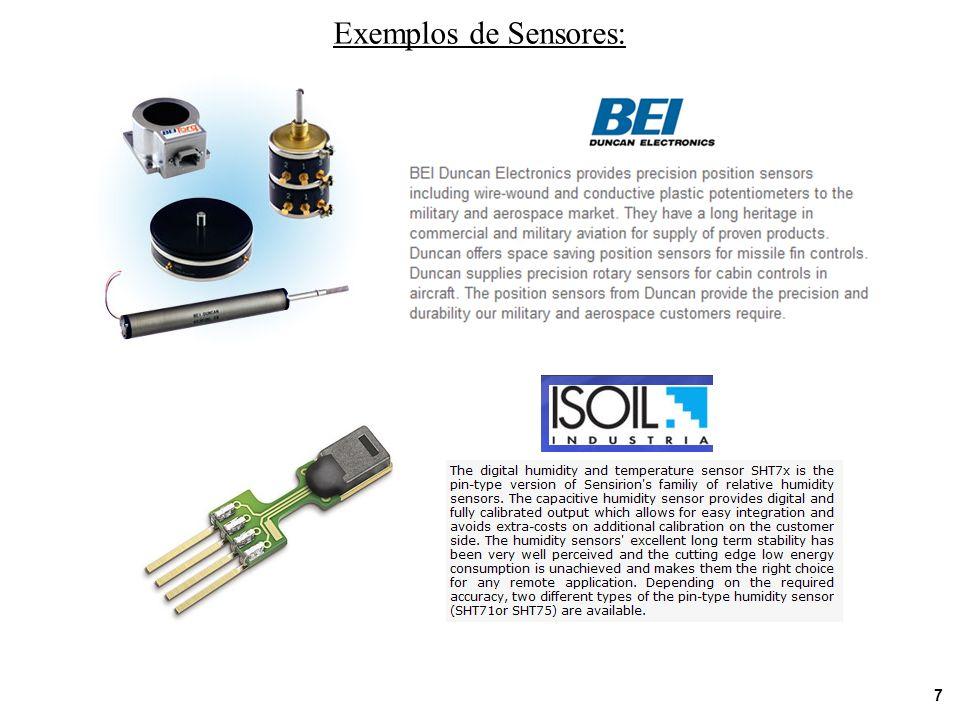 Exemplos de Sensores: