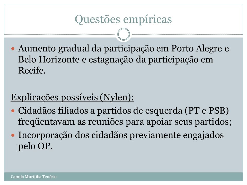 Questões empíricas Aumento gradual da participação em Porto Alegre e Belo Horizonte e estagnação da participação em Recife.