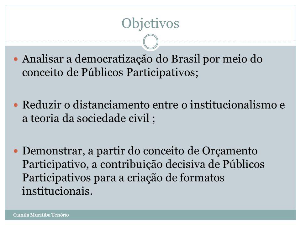 Objetivos Analisar a democratização do Brasil por meio do conceito de Públicos Participativos;