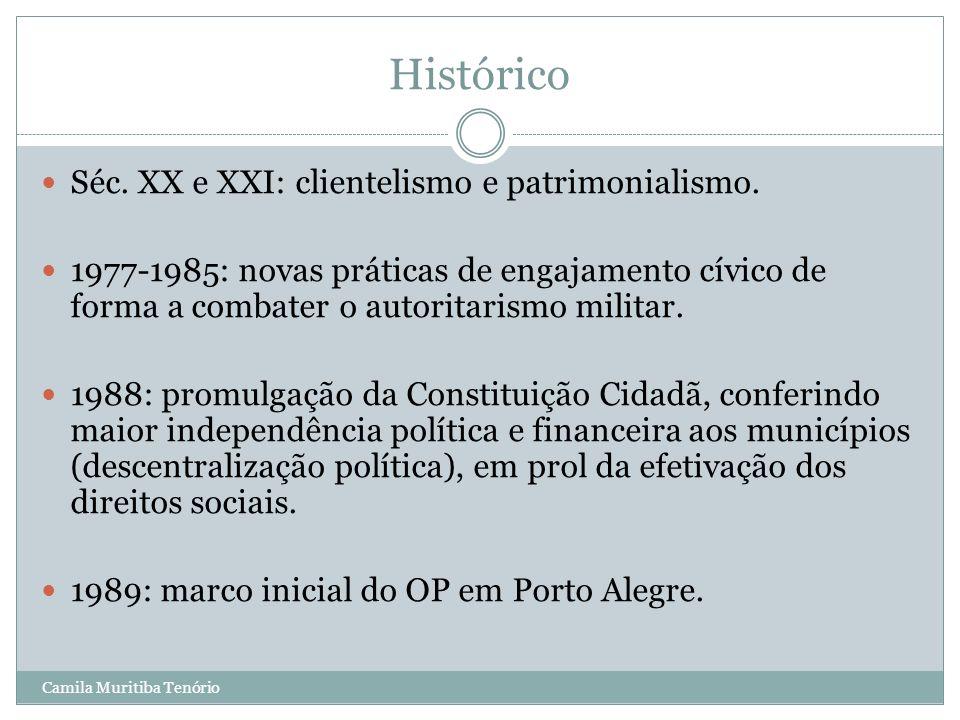 Histórico Séc. XX e XXI: clientelismo e patrimonialismo.