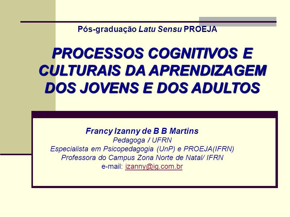 Pós-graduação Latu Sensu PROEJA Francy Izanny de B B Martins