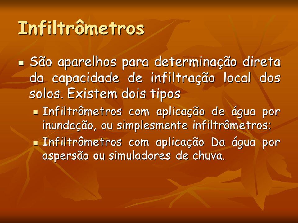 Infiltrômetros São aparelhos para determinação direta da capacidade de infiltração local dos solos. Existem dois tipos.
