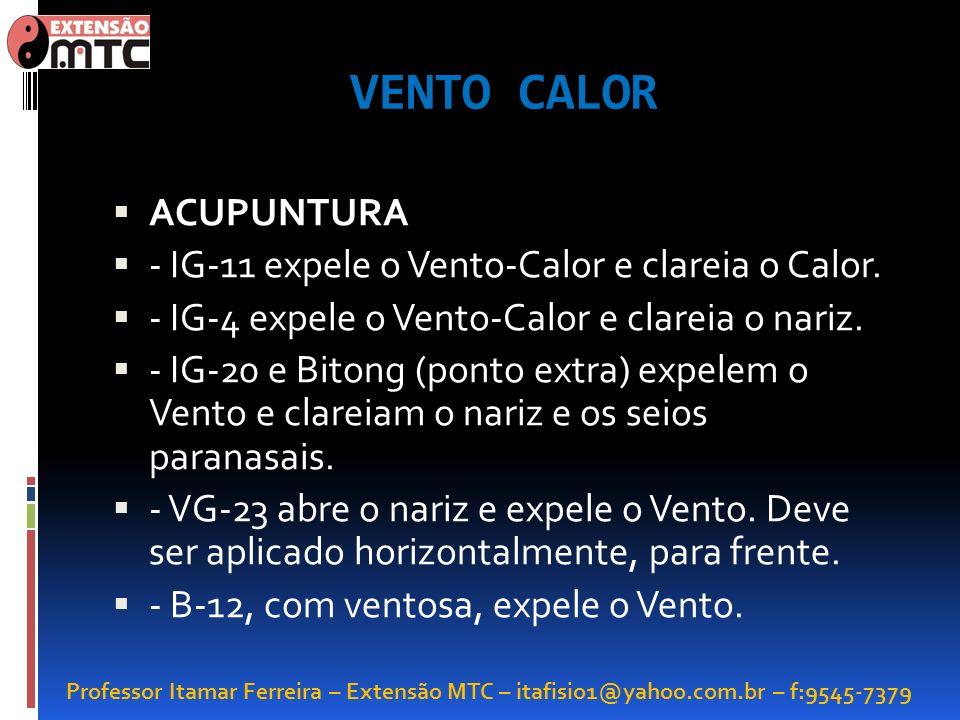 VENTO CALOR ACUPUNTURA - IG-11 expele o Vento-Calor e clareia o Calor.