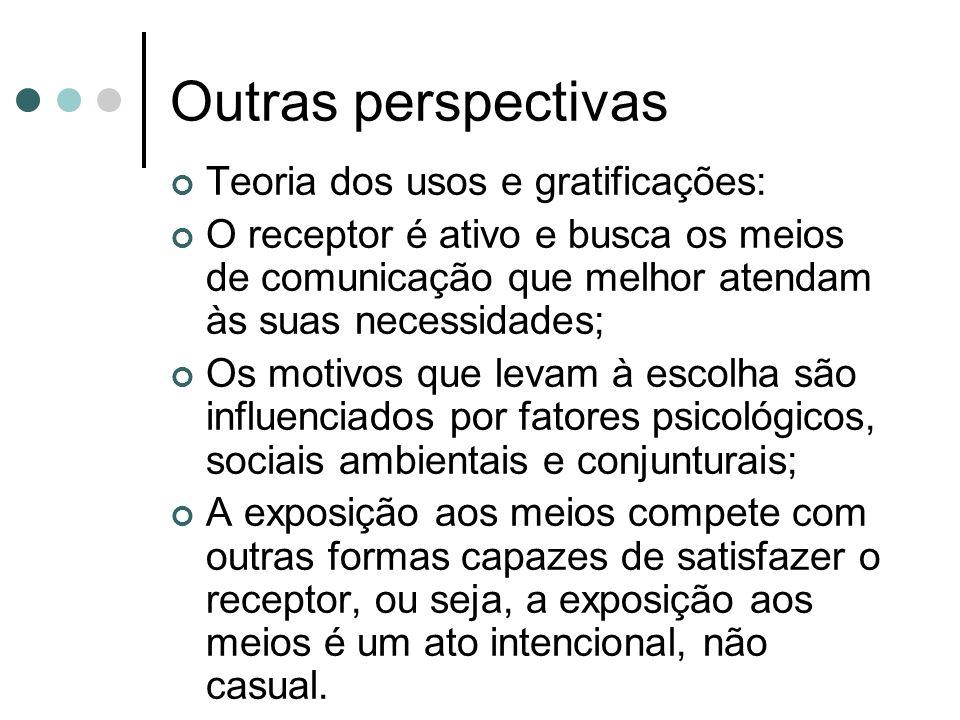 Outras perspectivas Teoria dos usos e gratificações: