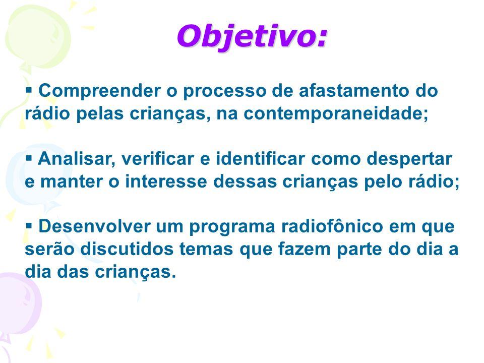 Objetivo: Compreender o processo de afastamento do rádio pelas crianças, na contemporaneidade;