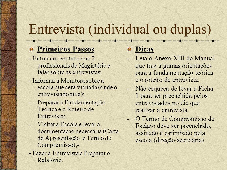 Entrevista (individual ou duplas)