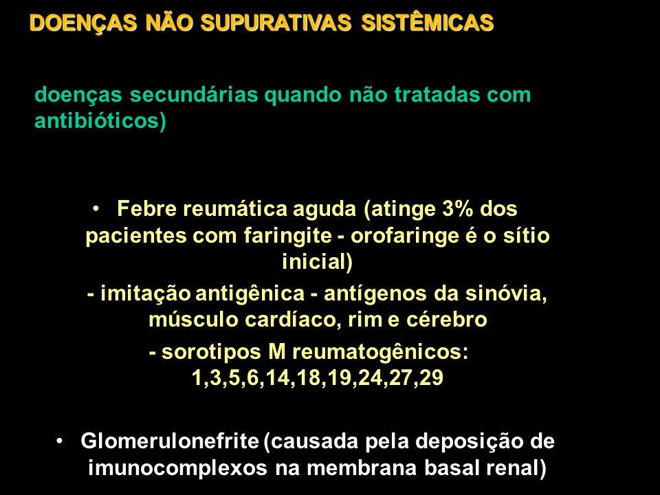 - sorotipos M reumatogênicos: 1,3,5,6,14,18,19,24,27,29