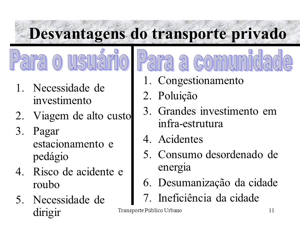 Desvantagens do transporte privado