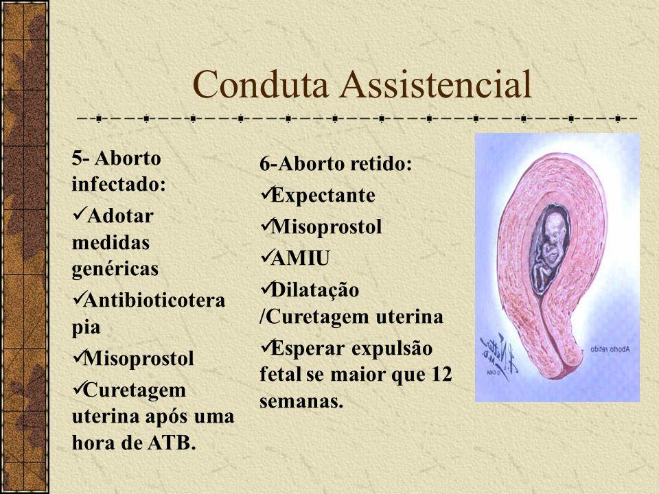 Conduta Assistencial 5- Aborto infectado: 6-Aborto retido: Expectante