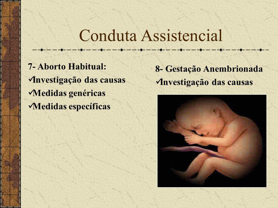 Conduta Assistencial 7- Aborto Habitual: 8- Gestação Anembrionada