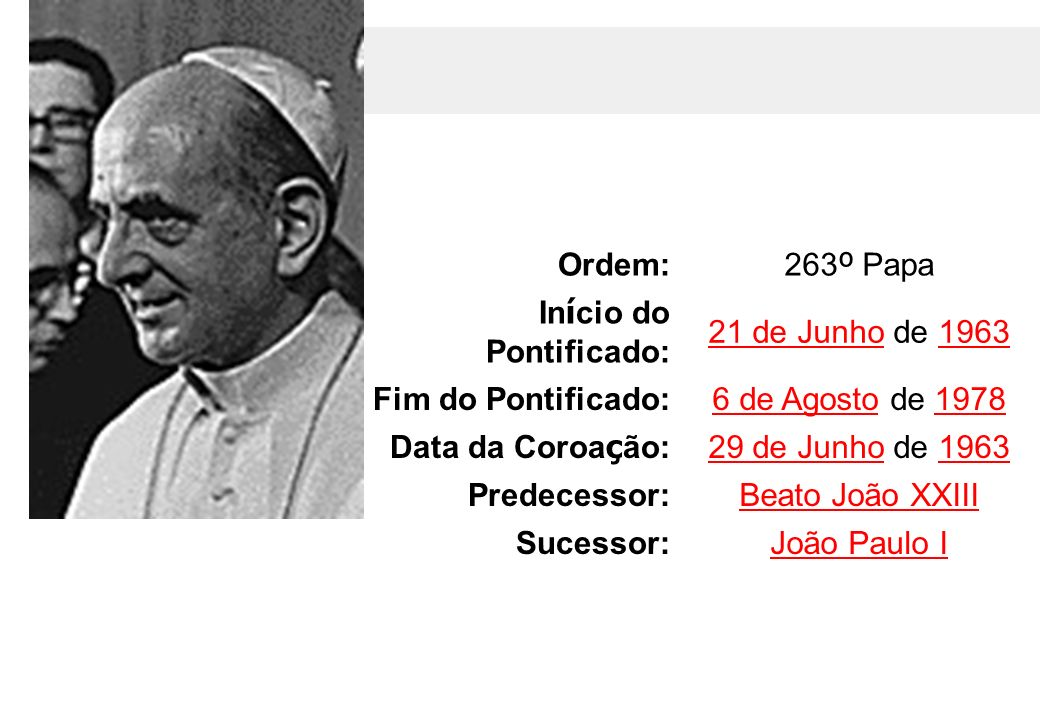Início do Pontificado: 21 de Junho de 1963 Fim do Pontificado:
