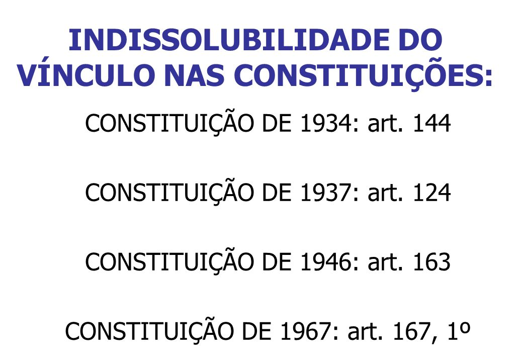 INDISSOLUBILIDADE DO VÍNCULO NAS CONSTITUIÇÕES: