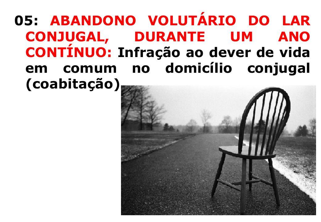 05: ABANDONO VOLUTÁRIO DO LAR CONJUGAL, DURANTE UM ANO CONTÍNUO: Infração ao dever de vida em comum no domicílio conjugal (coabitação)