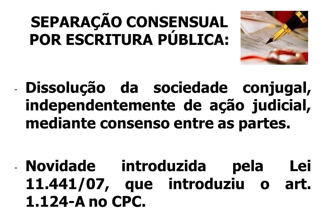 SEPARAÇÃO CONSENSUAL POR ESCRITURA PÚBLICA: