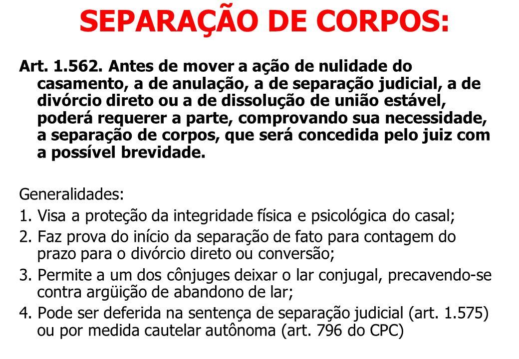SEPARAÇÃO DE CORPOS: