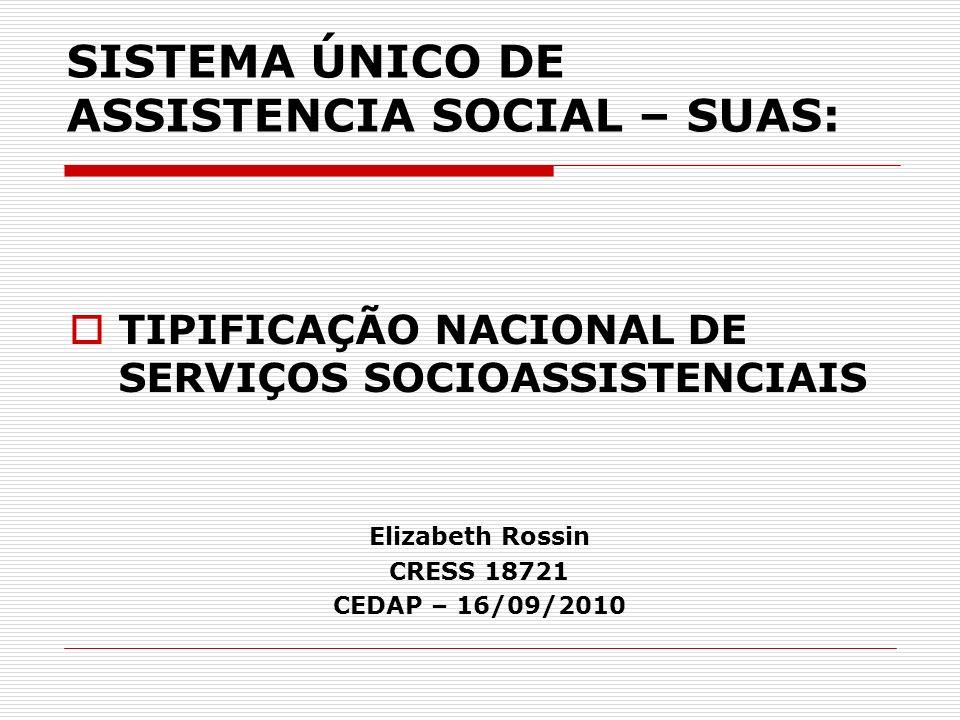 SISTEMA ÚNICO DE ASSISTENCIA SOCIAL – SUAS: