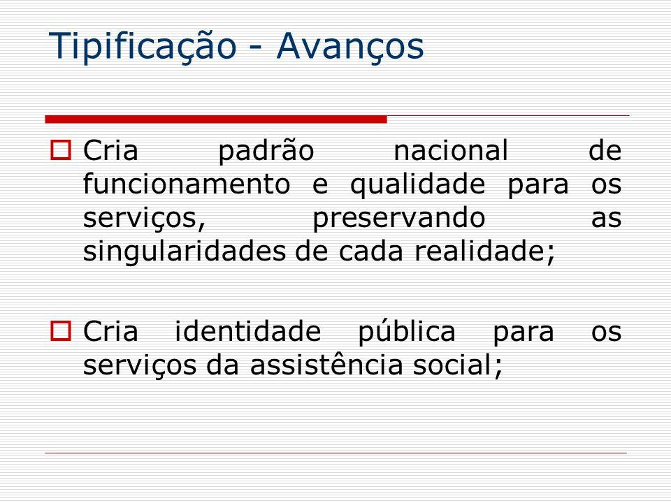 Tipificação - AvançosCria padrão nacional de funcionamento e qualidade para os serviços, preservando as singularidades de cada realidade;