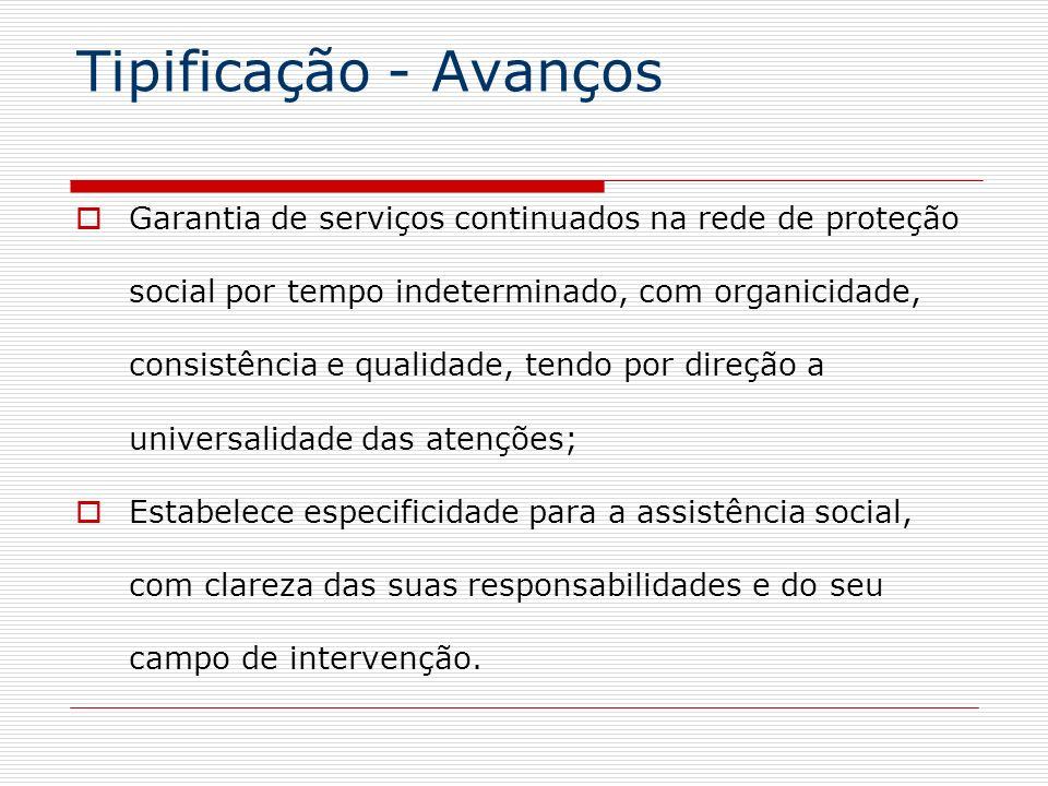 Tipificação - AvançosGarantia de serviços continuados na rede de proteção. social por tempo indeterminado, com organicidade,
