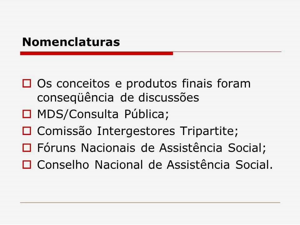Nomenclaturas Os conceitos e produtos finais foram conseqüência de discussões. MDS/Consulta Pública;
