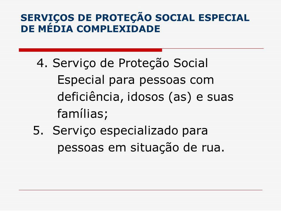 SERVIÇOS DE PROTEÇÃO SOCIAL ESPECIAL DE MÉDIA COMPLEXIDADE