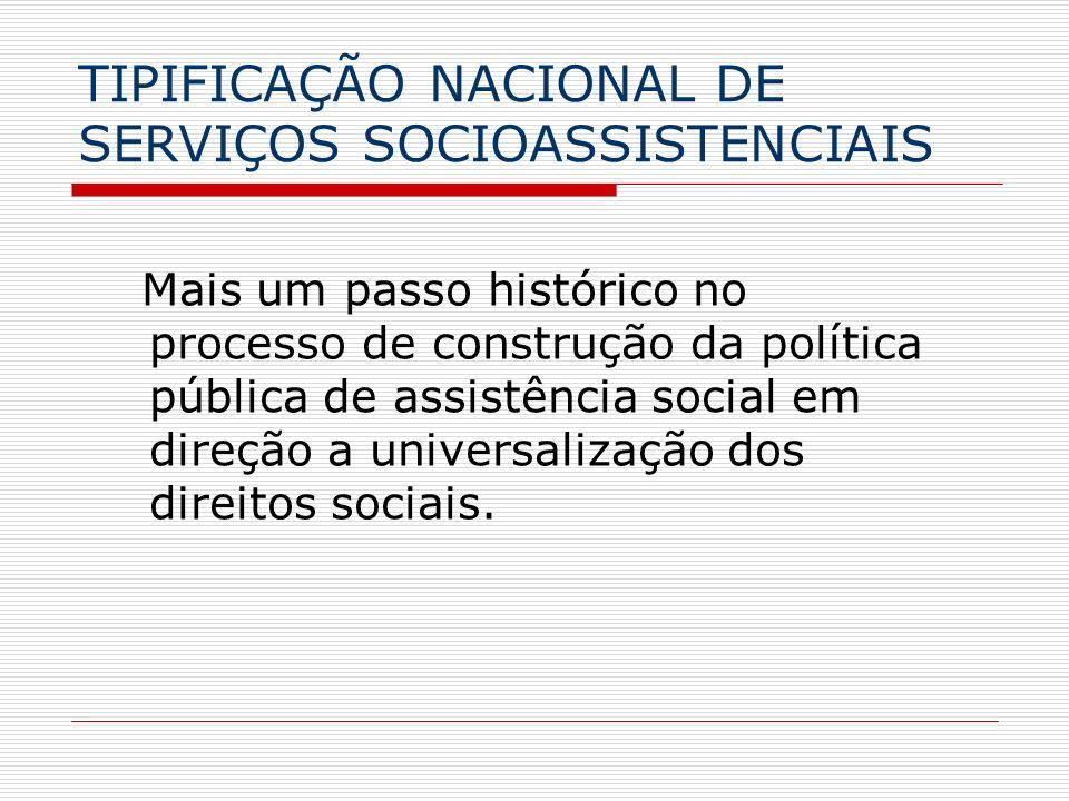 TIPIFICAÇÃO NACIONAL DE SERVIÇOS SOCIOASSISTENCIAIS
