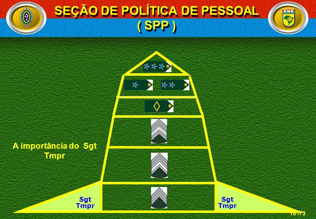 SEÇÃO DE POLÍTICA DE PESSOAL A importância do Sgt Tmpr