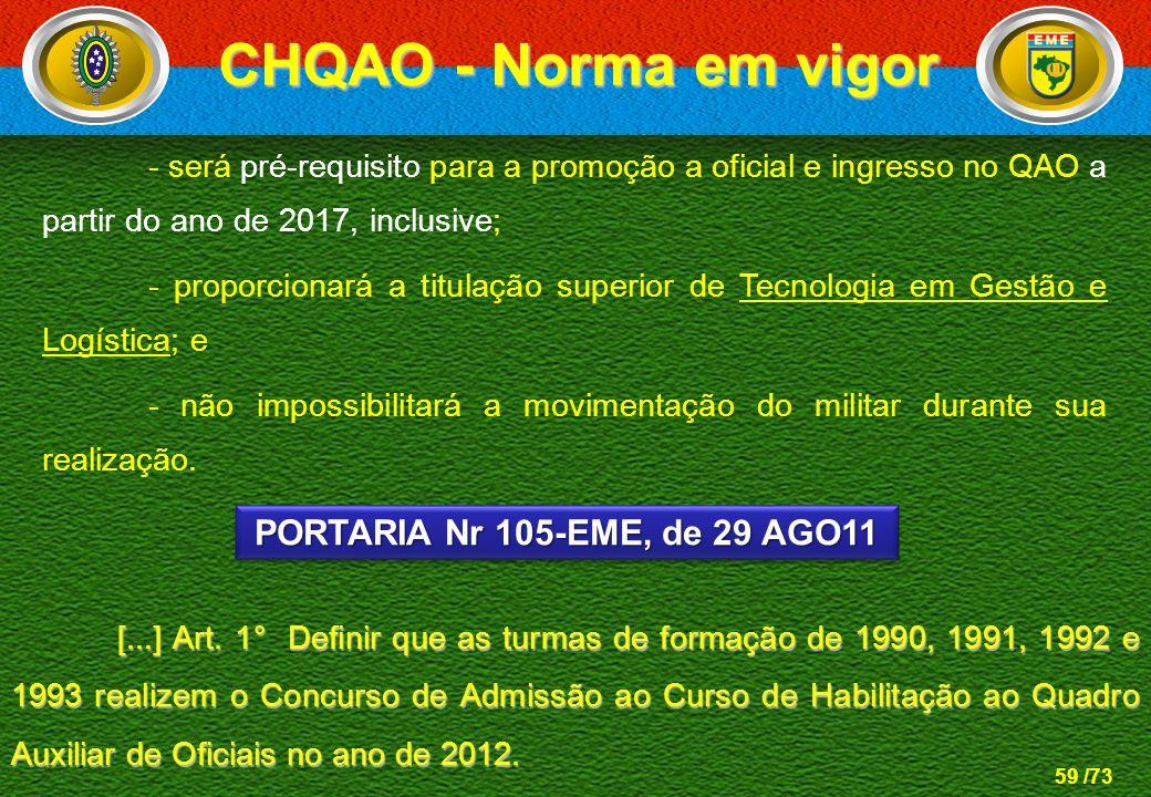 CHQAO - Norma em vigor PORTARIA Nr 105-EME, de 29 AGO11