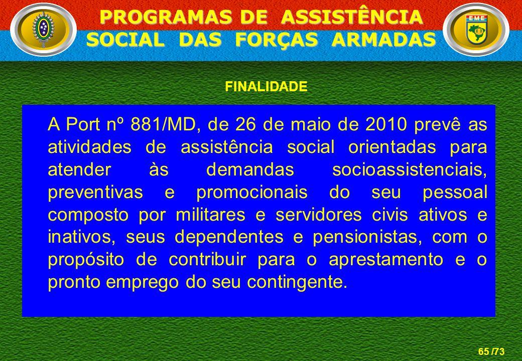 PROGRAMAS DE ASSISTÊNCIA SOCIAL DAS FORÇAS ARMADAS