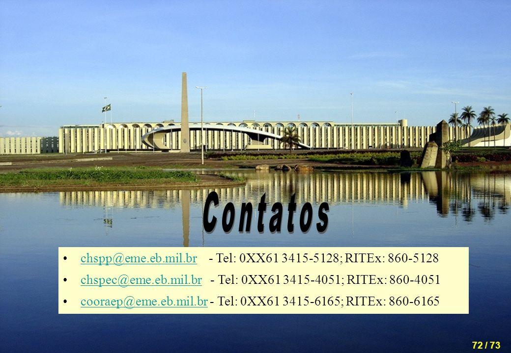 Contatos chspp@eme.eb.mil.br - Tel: 0XX61 3415-5128; RITEx: 860-5128