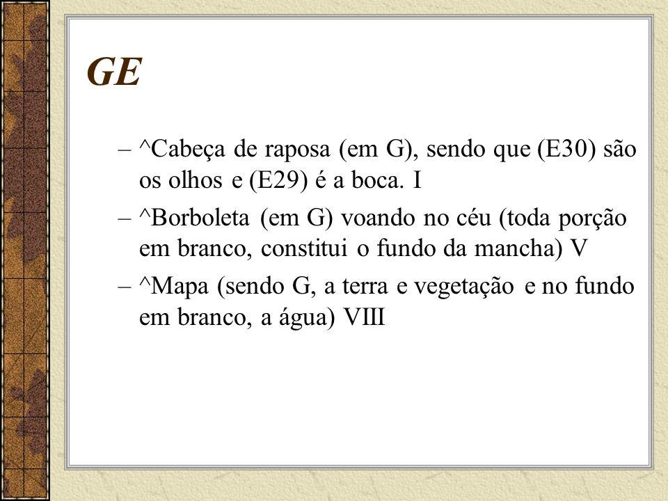 GE ^Cabeça de raposa (em G), sendo que (E30) são os olhos e (E29) é a boca. I.