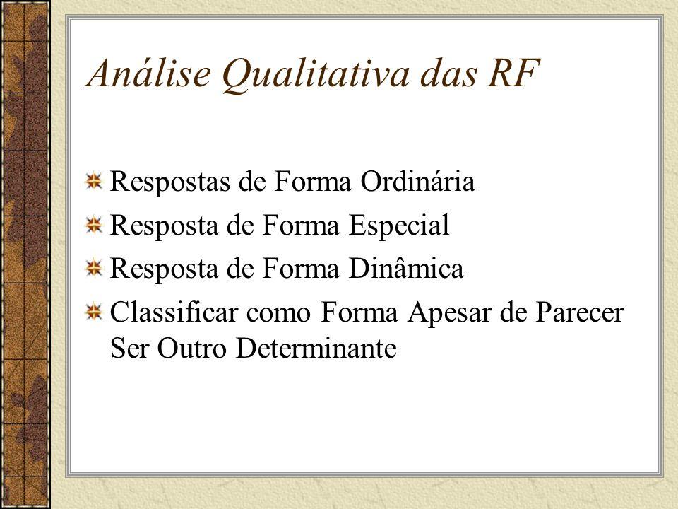 Análise Qualitativa das RF