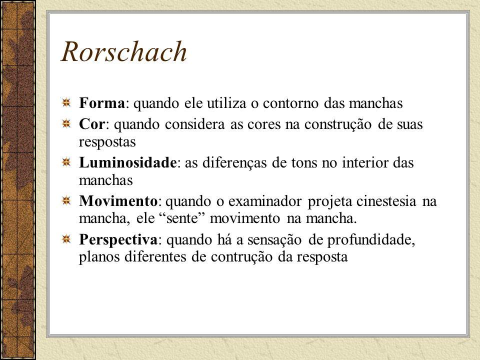 Rorschach Forma: quando ele utiliza o contorno das manchas