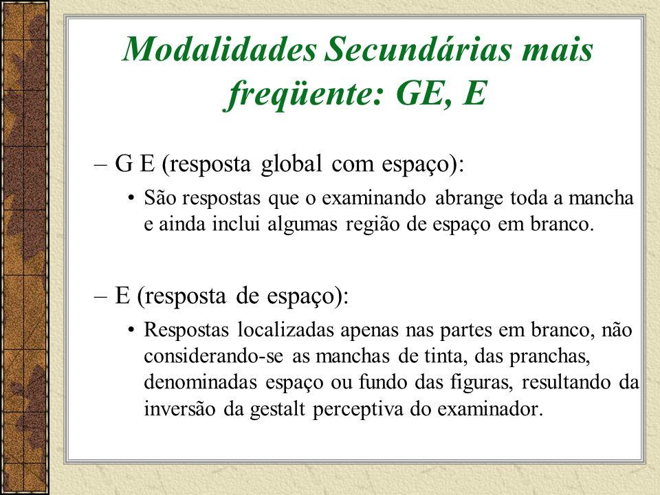 Modalidades Secundárias mais freqüente: GE, E