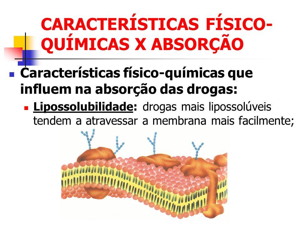 CARACTERÍSTICAS FÍSICO-QUÍMICAS X ABSORÇÃO