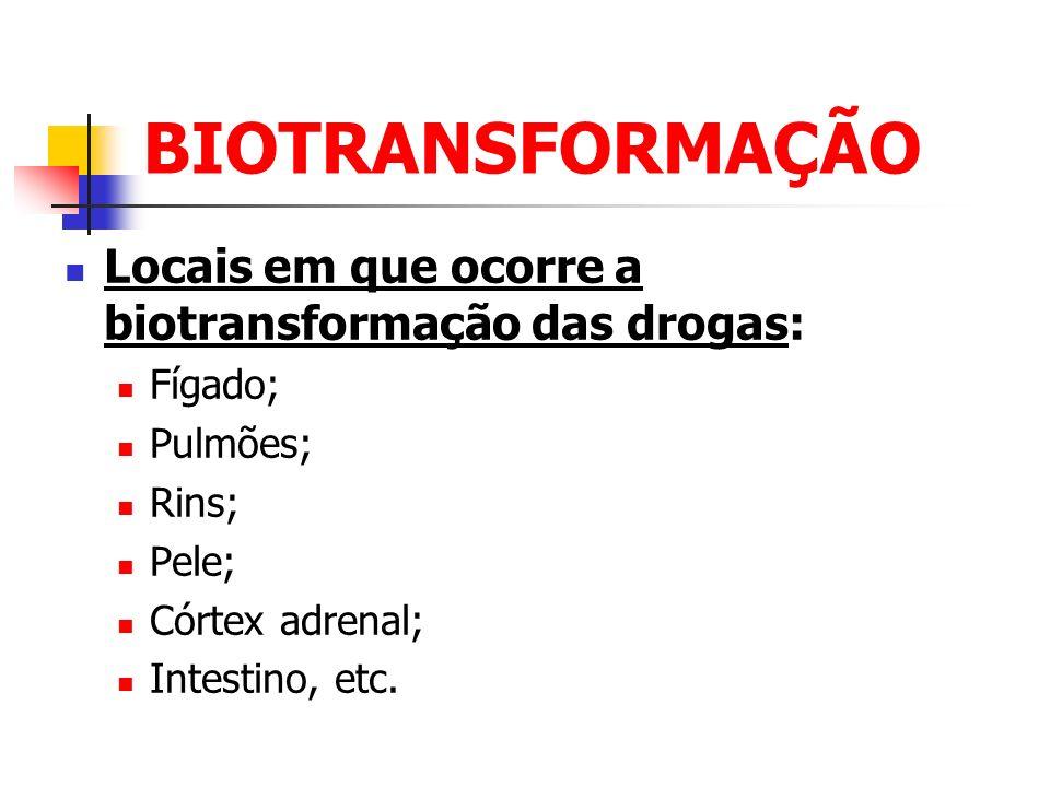 BIOTRANSFORMAÇÃO Locais em que ocorre a biotransformação das drogas: